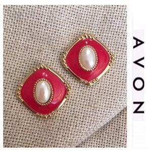 Vintage Jewelry - Avon Red Enamel & Pearl Center Earrings Goldtone